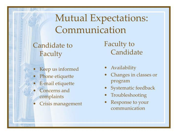 Candidate to Faculty