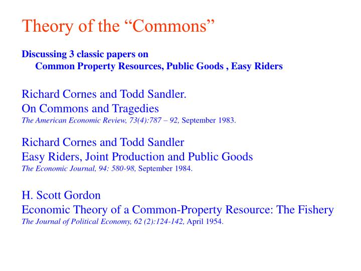 theory of the commons n.