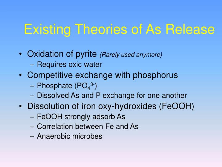 Existing Theories of As Release