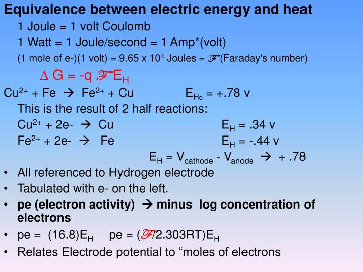Equivalence between electric energy and heat