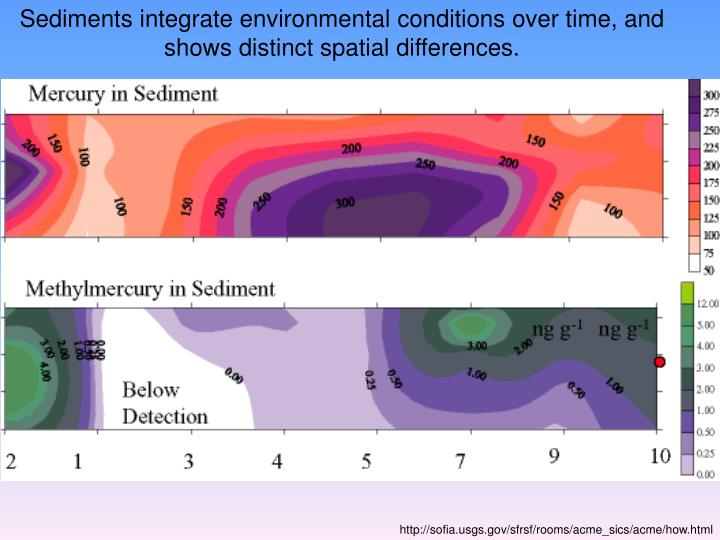 Sediments integrate environmental conditions over time, and shows distinct spatial differences.
