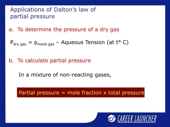 Applications of Dalton's law of partial pressure