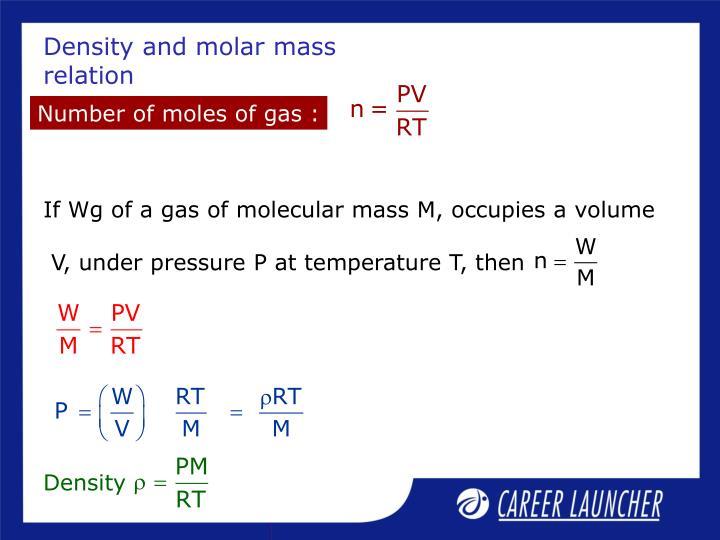 If Wg of a gas of molecular mass M, occupies a volume