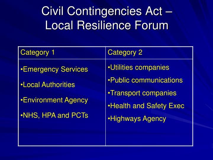 Civil Contingencies Act –