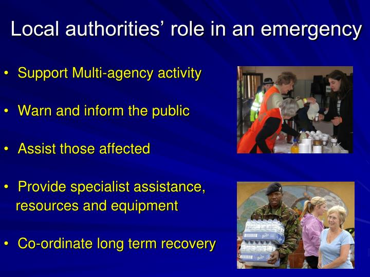 Local authorities' role in an emergency