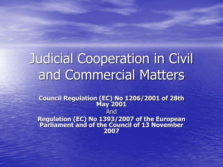 judicial cooperation in civil and commercial matters n.