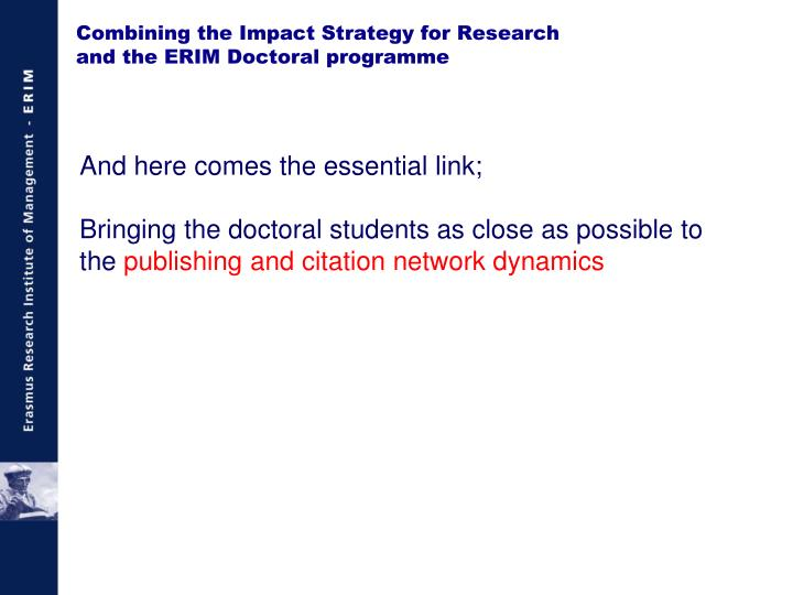 Combining the Impact Strategy for Research