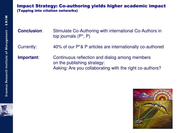 Impact Strategy: Co-authoring yields higher academic impact