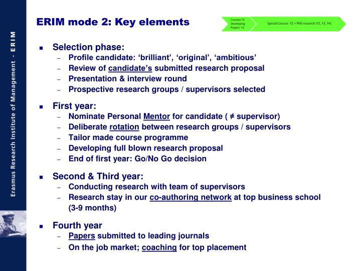 ERIM mode 2: Key elements