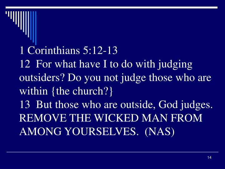 1 Corinthians 5:12-13