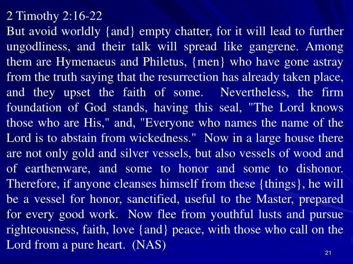 2 Timothy 2:16-22
