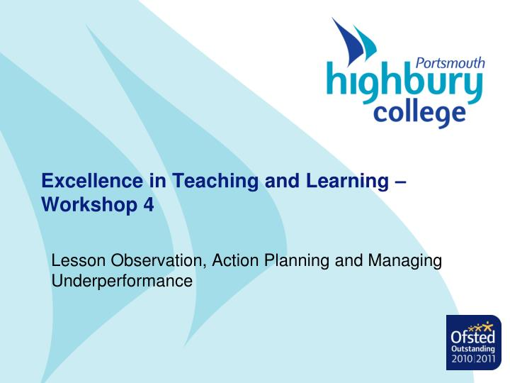 excellence in teaching and learning workshop 4