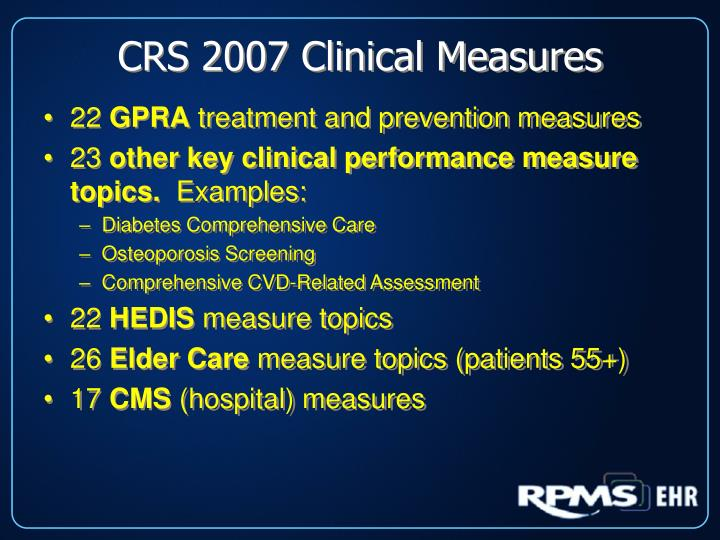 CRS 2007 Clinical Measures