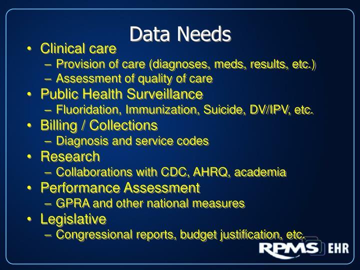 Data Needs