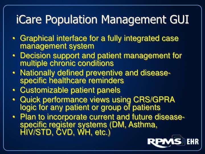 iCare Population Management GUI