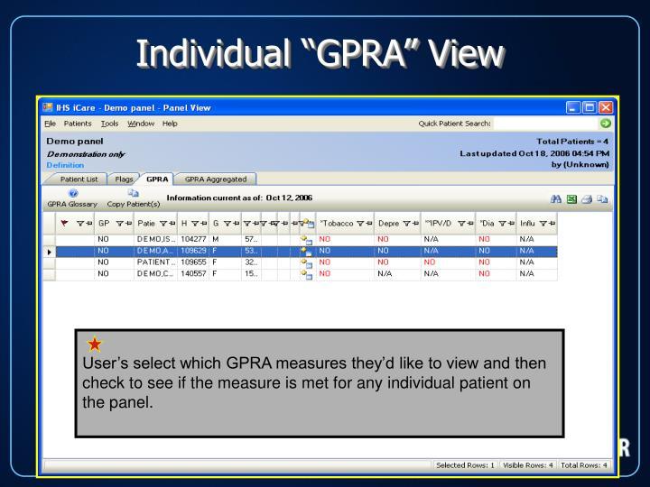 "Individual ""GPRA"" View"