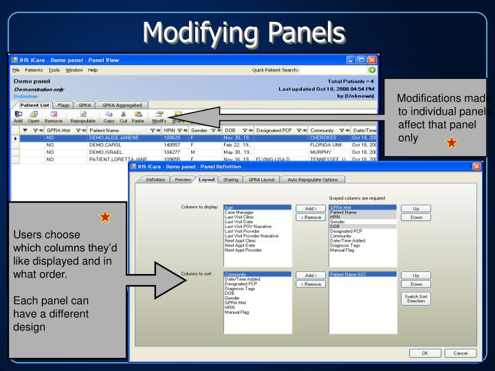 Modifying Panels