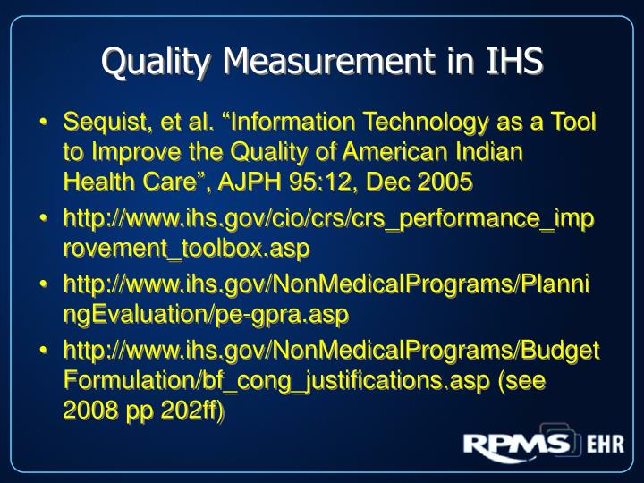 Quality Measurement in IHS