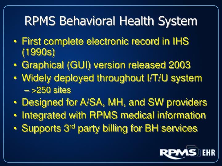 RPMS Behavioral Health System