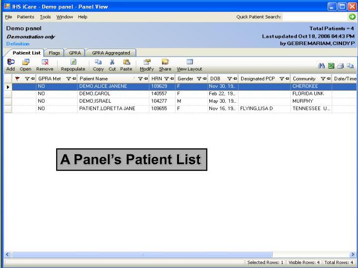 A Panel's Patient List