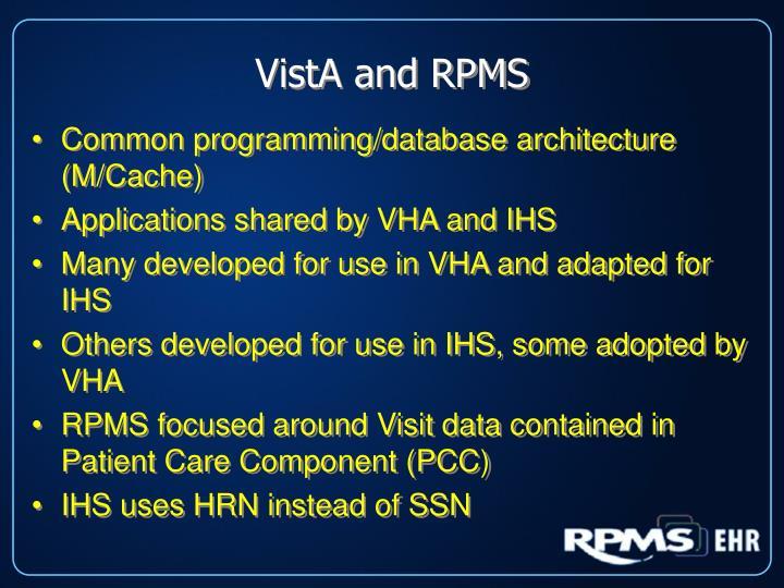 VistA and RPMS