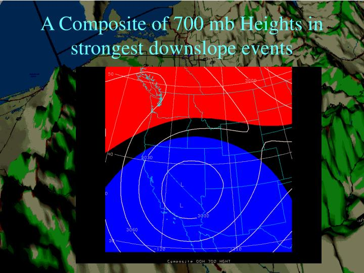 A Composite of 700 mb Heights in strongest downslope events