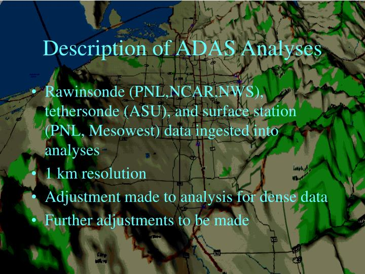 Description of ADAS Analyses