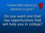 undecided about an elective to pick