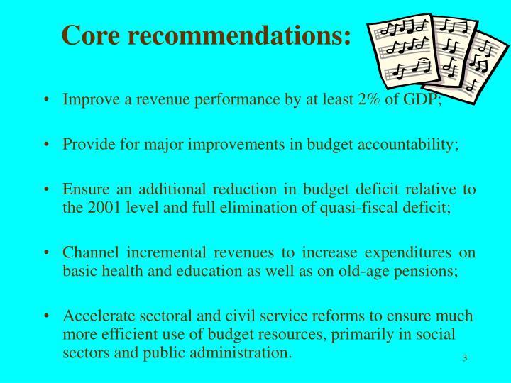 Core recommendations