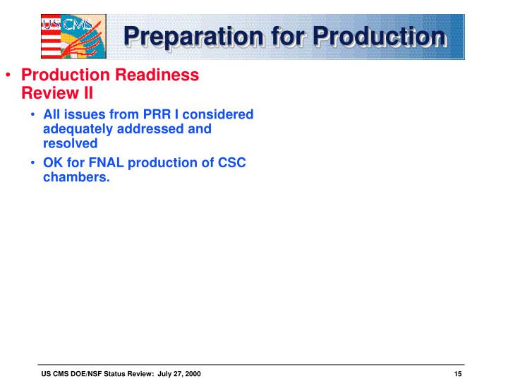Preparation for production2