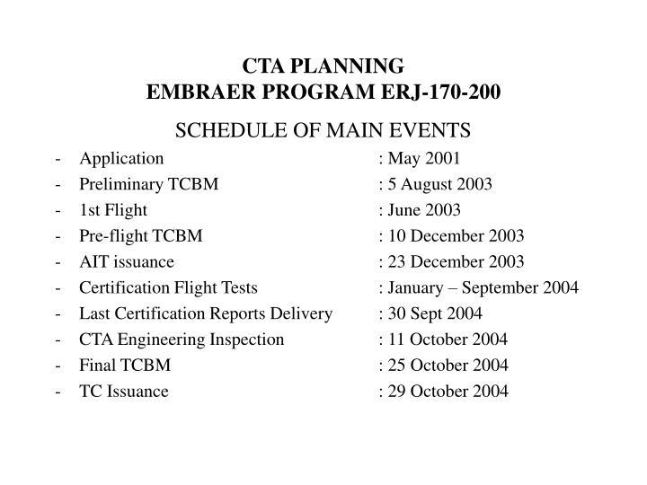 Cta planning embraer program erj 170 200