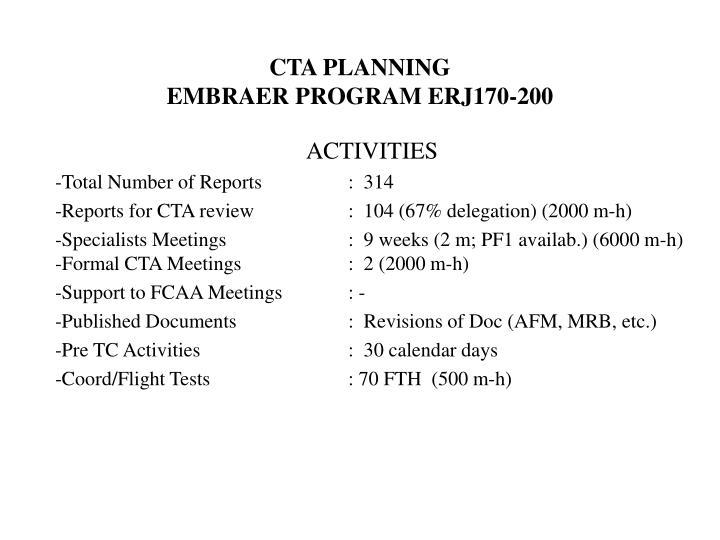 Cta planning embraer program erj170 200