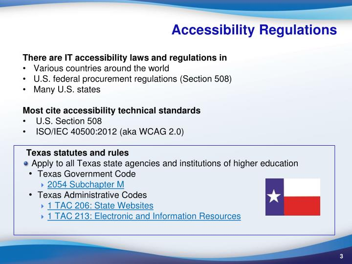 Accessibility regulations