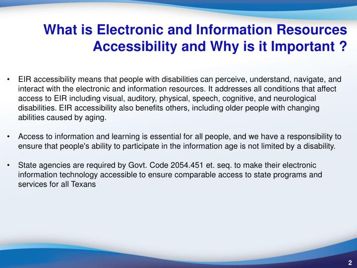 What is electronic and information resources accessibility and why is it important