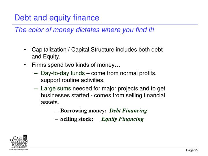 Debt and equity finance