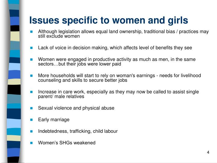 Issues specific to women and girls