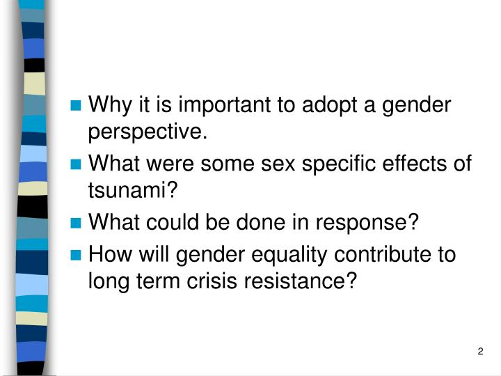 Why it is important to adopt a gender perspective.