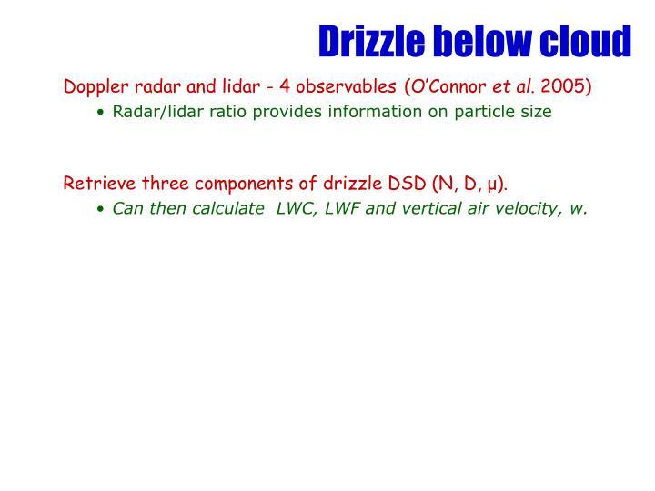 Drizzle below cloud
