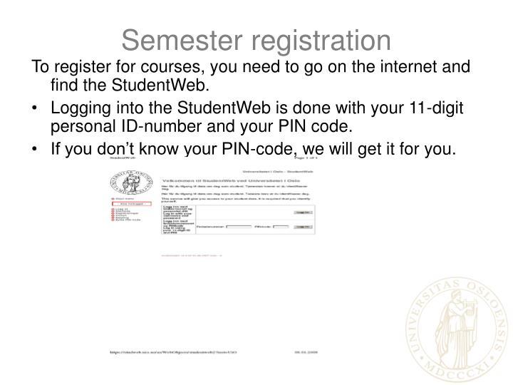 Semester registration