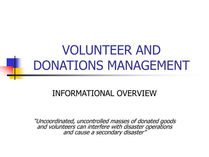 volunteer and donations management n.