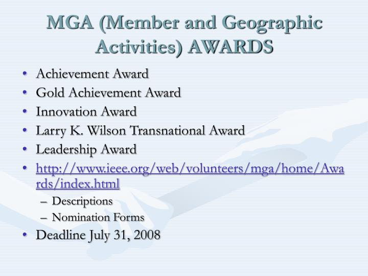 MGA (Member and Geographic Activities) AWARDS