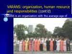 varans organization human resource and responsibilities cont d