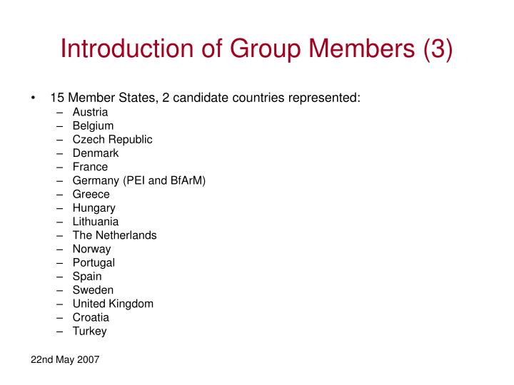 Introduction of Group Members (3)