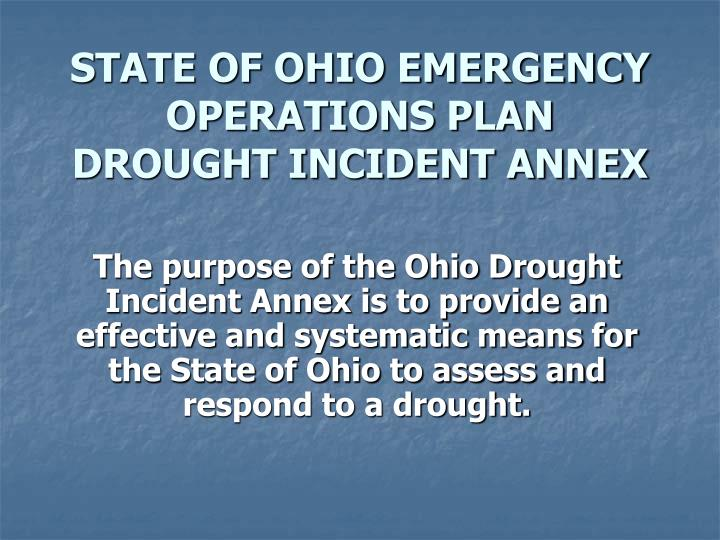 state of ohio emergency operations plan drought incident annex n.