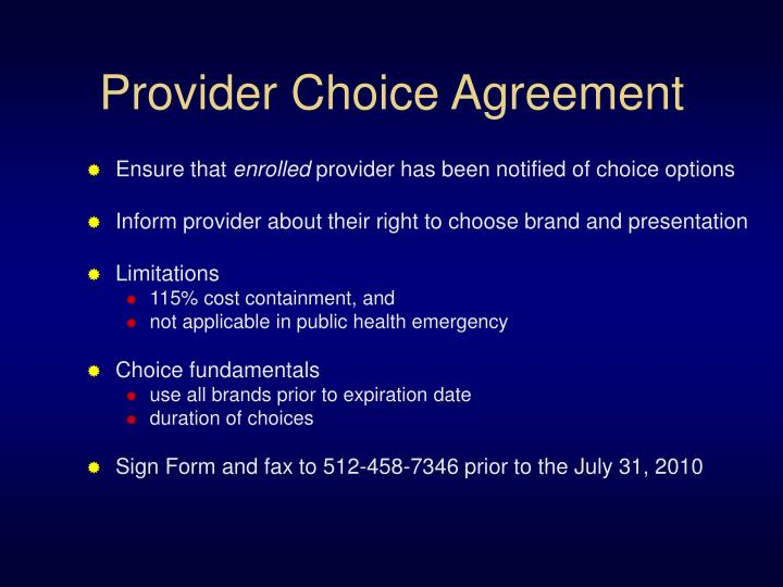 Provider Choice Agreement