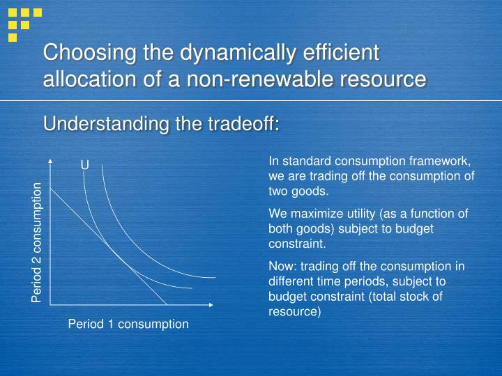Choosing the dynamically efficient allocation of a non-renewable resource