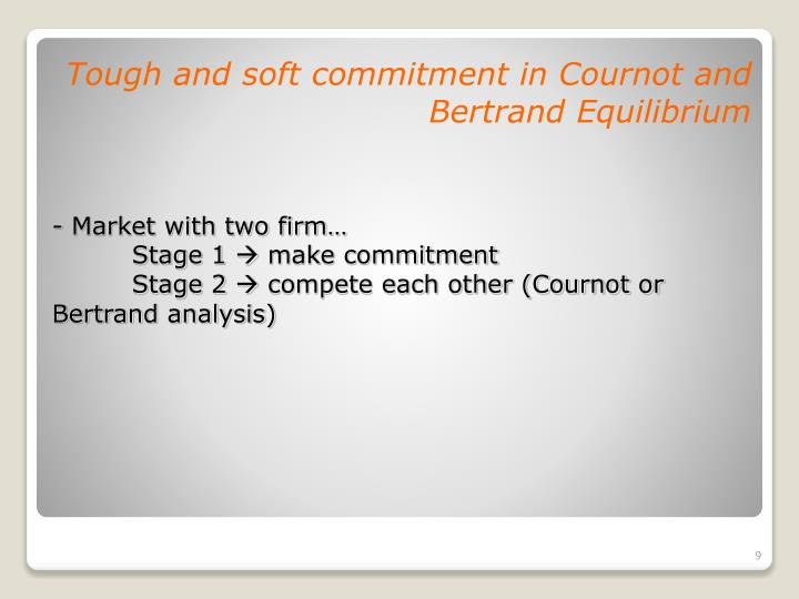 Tough and soft commitment in Cournot and Bertrand Equilibrium