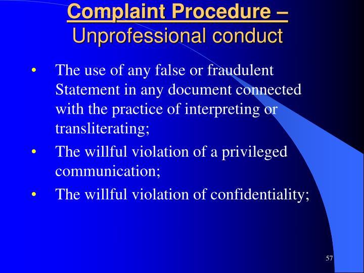 Complaint Procedure –