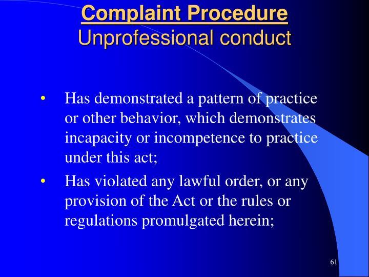 Complaint Procedure