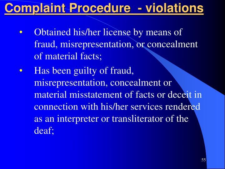 Complaint Procedure  - violations